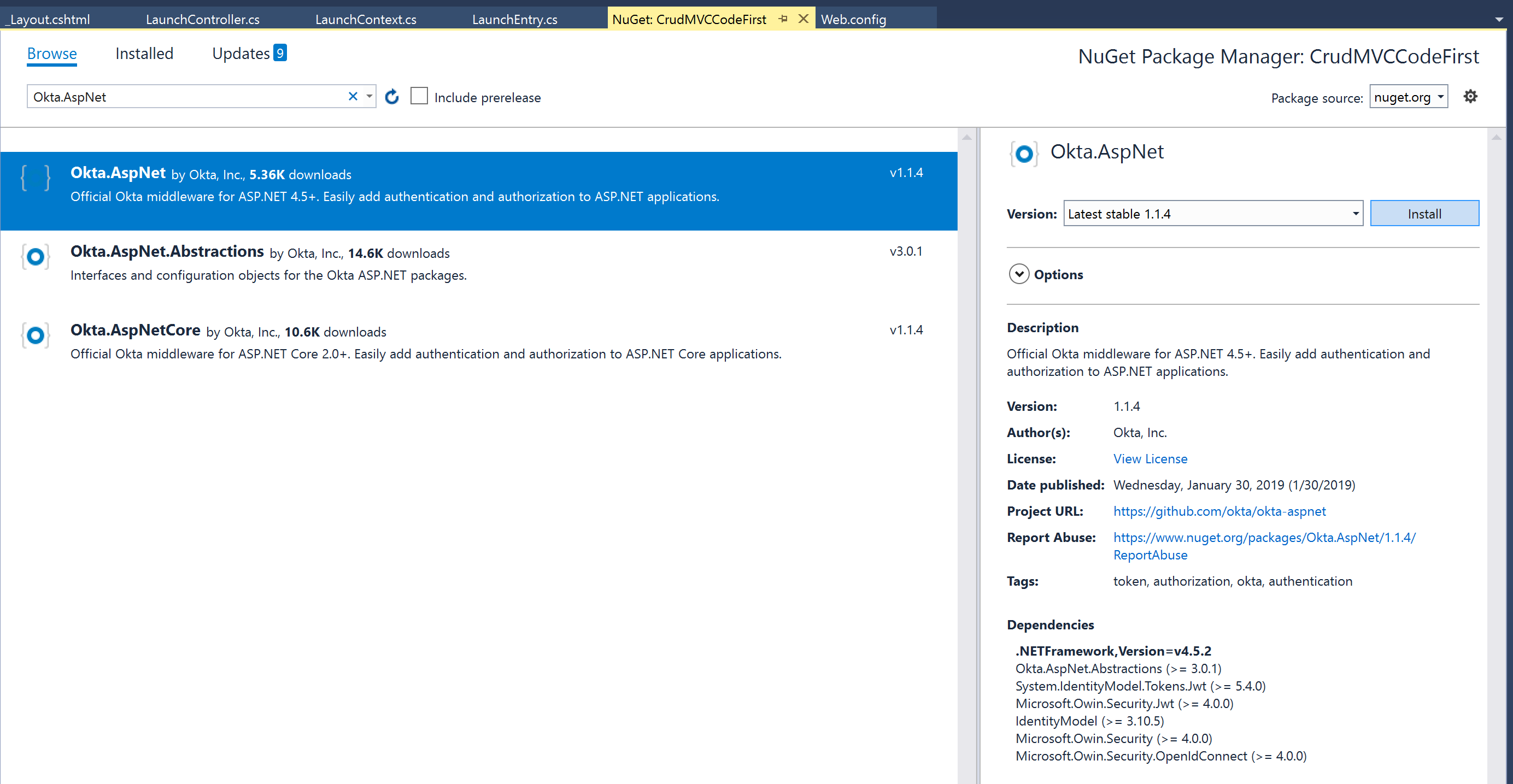 Build a CRUD App with ASP NET MVC and Entity Framework | Okta Developer
