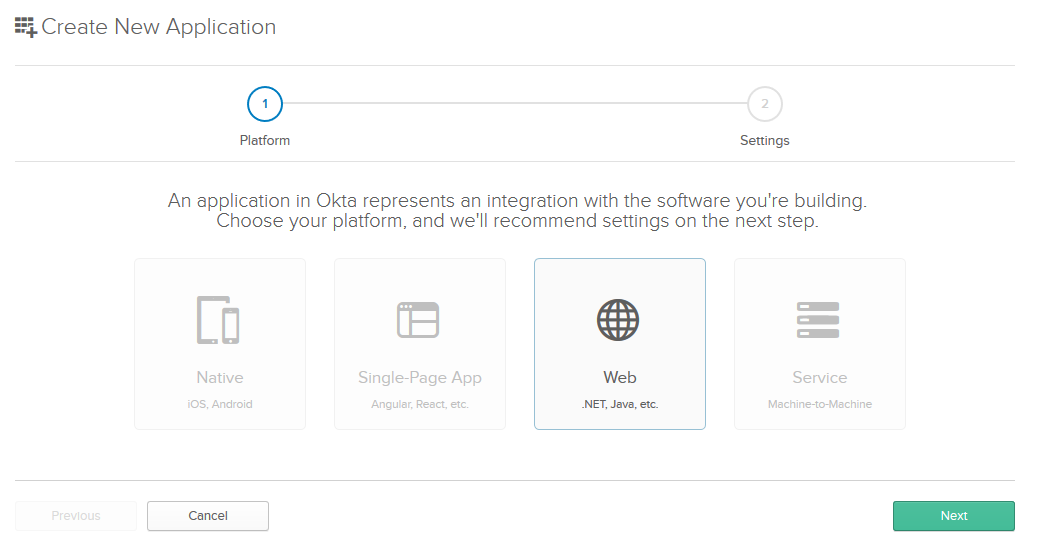 Okta new application page