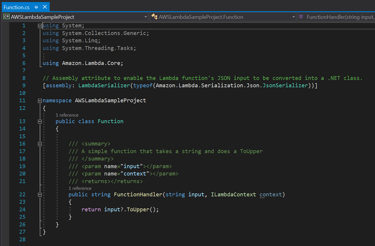 Visual Studio AWS Lambda sample