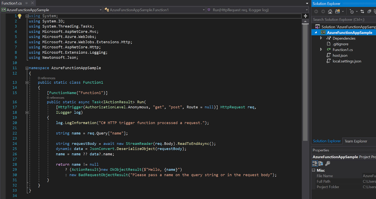 Visual Studio function sample