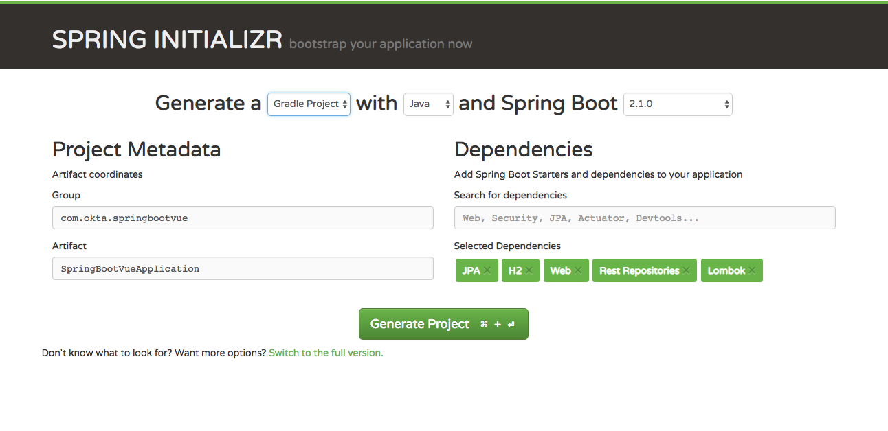 Create a new project using the Spring Initializer