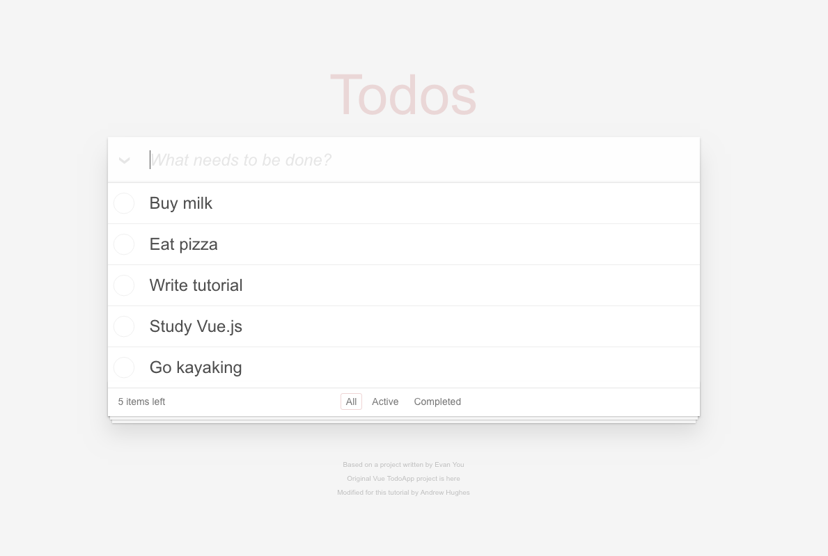 Screenshot of Todo app with data populated from server