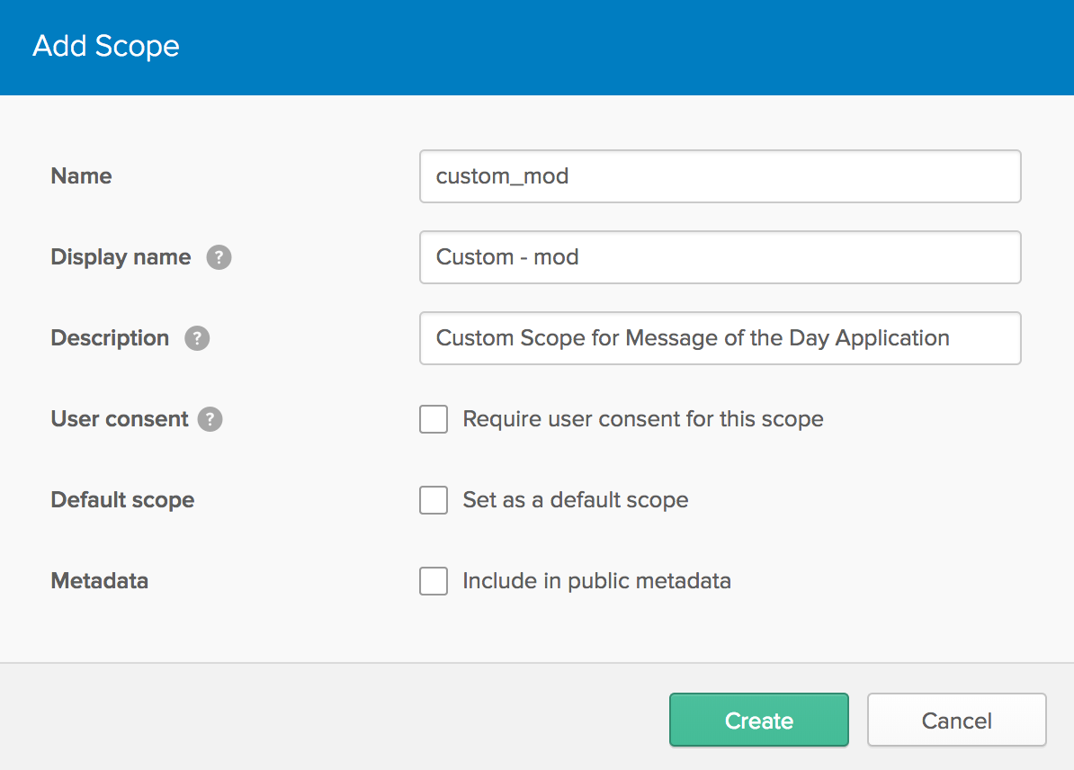 Create a custom scope in Okta Developer Console
