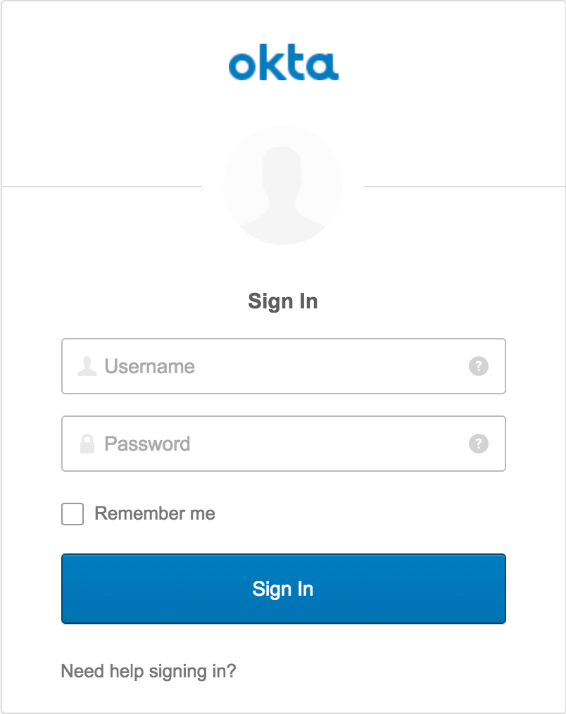 okta sign in page