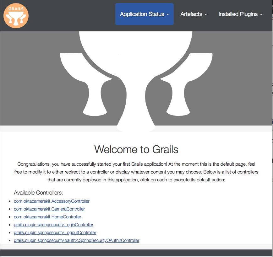 Grails default welcome view