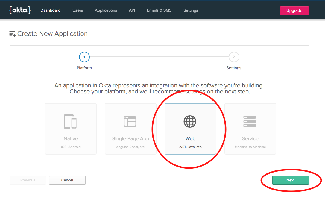 Add Okta web application