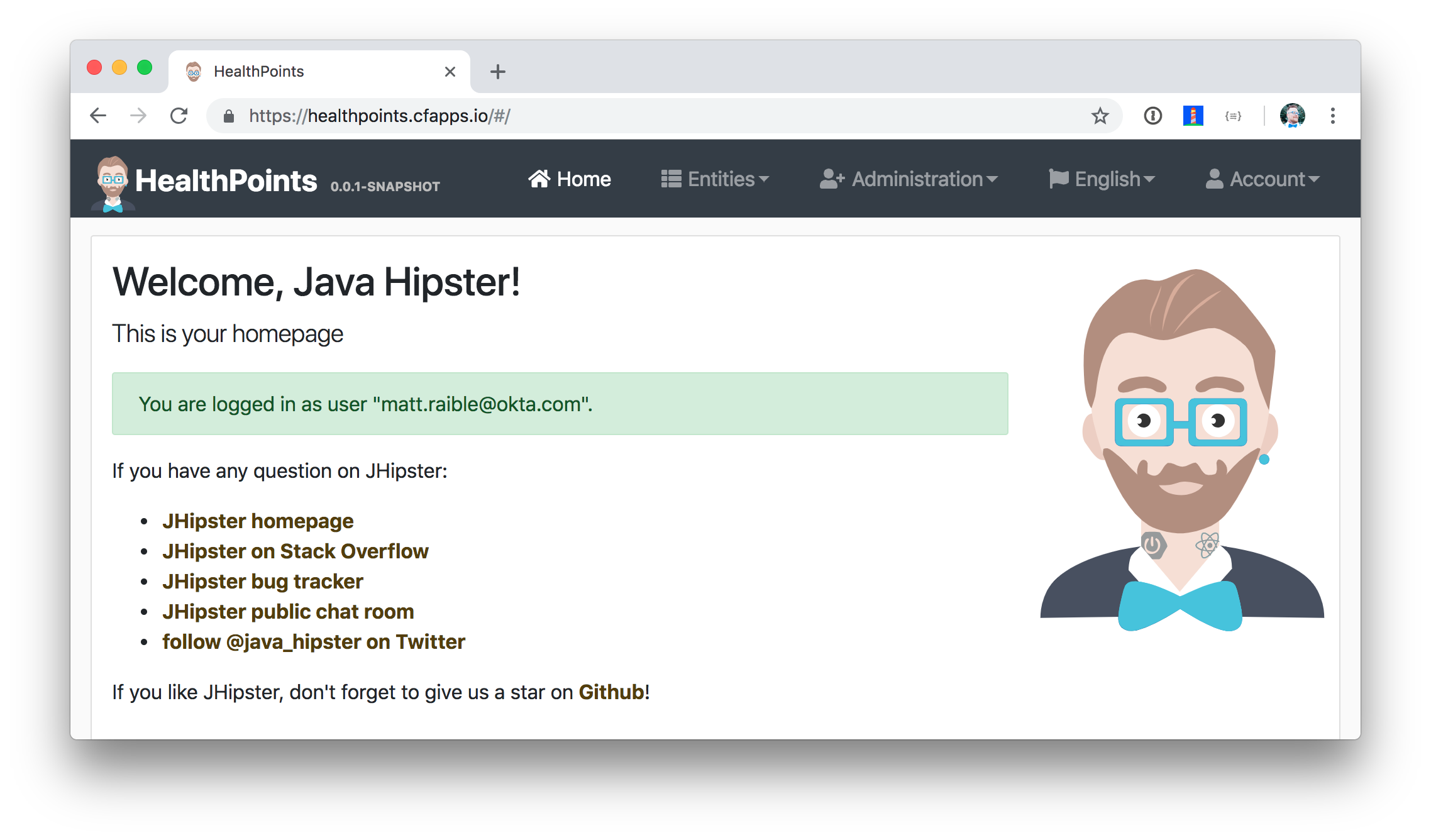 JHipster API on Cloud Foundry