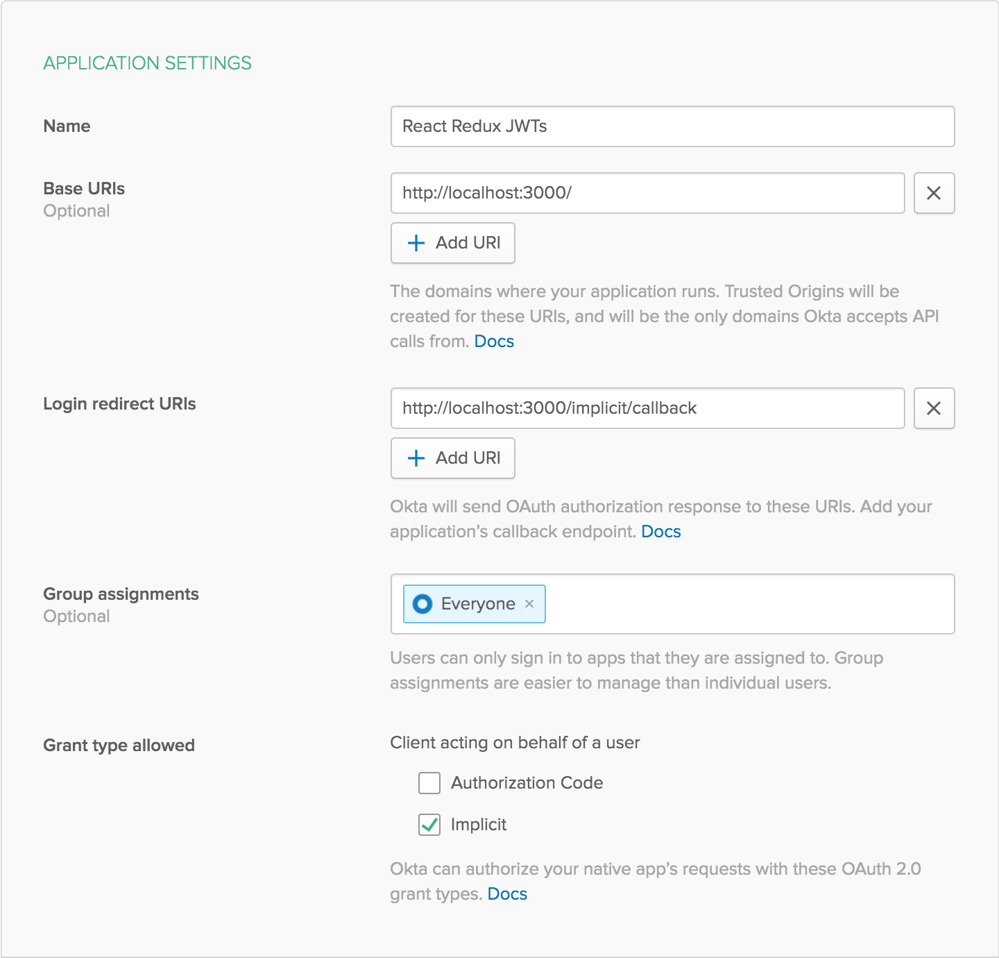 Create New Application Settings