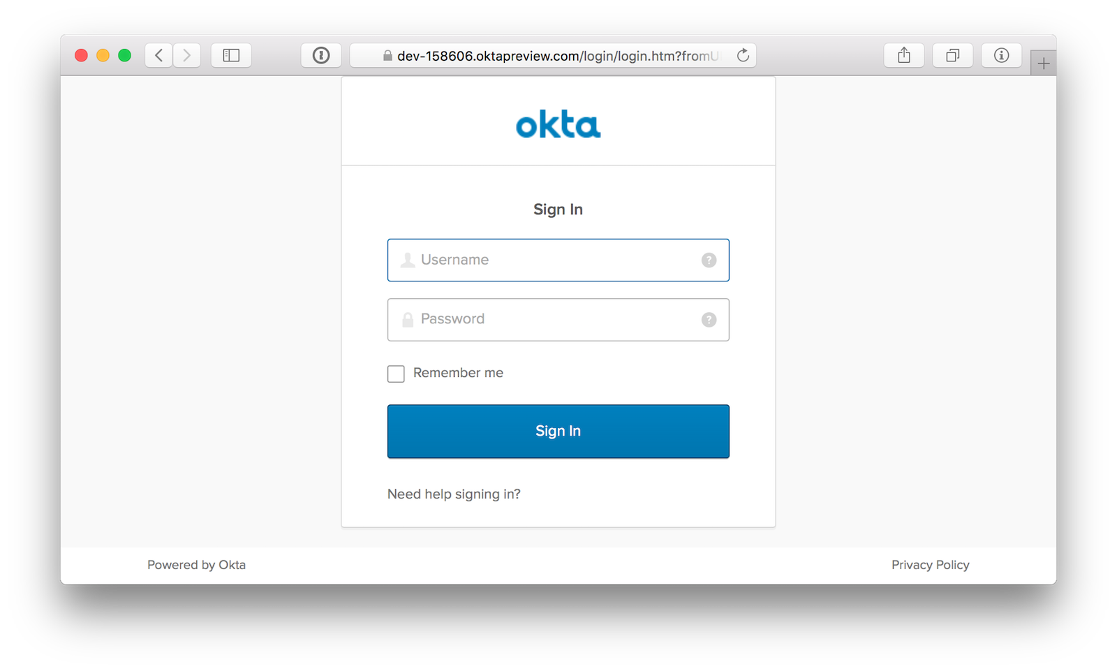 Okta Sign-In Page